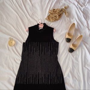 Vintage 80s Velvet Glitter Dots Wiggle Maxi Dress